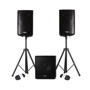 Ibiza Sound CUBE-1812 - Caisson bi-amplifié 1200 W + 2 satellites + pieds