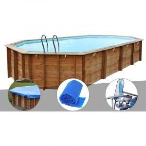 Sunbay Kit piscine bois Sevilla 8,72 x 4,72 x 1,46 m + Bâche hiver + Bâche à bulles + Kit d'entretien