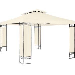 TecTake Tonnelle de Jardin 3,9 m x 2,9 m Autoportée Structure en Métal Beige