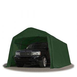 Intent24 Tente-garage carport 3,3 x 6,0m d'élevage abri agricole tente de stockage bâche 550g/m² armature solide vert fonce.FR