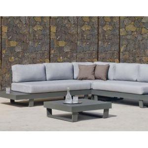 Hévéa Salon de jardin en aluminium canapé d'angle Anastacia Anthracite