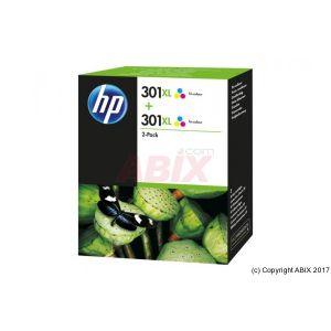 HP 301XL - Pack de 2 - à rendement élevé - couleur (cyan, magenta, jaune) - originale - cartouche d'encre - pour Deskjet 15XX, 2050A J510, 2054A J510, 25XX; Envy 45XX, 55XX; Officejet 26XX, 46XX