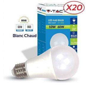 Image de V-TAC Lot de 20 Ampoules LED Culot E27 10W (éq. 60W) 806lm angle 200° lumière blanc chaud 2700K
