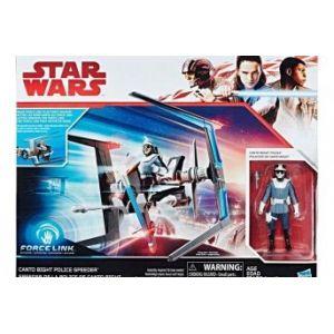 Hasbro Star Wars Episode VIII - Véhicule Canto Bright Police Speeder + Figurine