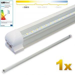 Ledvero 1x SMD réglettes lumineuses LED en blanc chaud T8 G13 tube couvercle transparent - 150 cm 25 W, 2500lumen- prêt pour l'installation