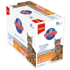 Image de Hill's Feline Young Adult Sterilised Cat - 12 sachets de 85 g, Saveur : 6 x Chicken + 6 x Salmon