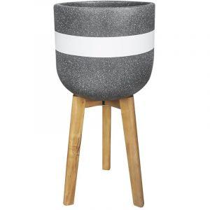 Present time Cache-pot sur pieds en ciment Radius - Diam. 30 cm - Noir