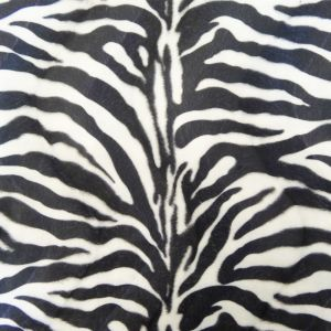 Craftine Tissu Velours Peau de bête Zèbre Blanc et noir - Par 50 cm