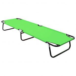 VidaXL Chaise longue pliable Acier Vert