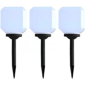 VidaXL Lampe solaire cubique à LED d'extérieur 3 pcs 20 cm Blanc