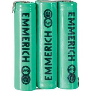 Emmerich Pack d'accus 3x R03 (AAA) NiMH 255052 cosses à souder en Z 3,6V 800 mAh