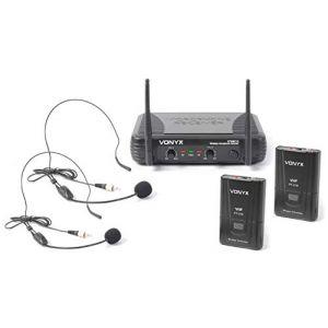 Skytec 179178 Stwm712h Lot de 2 micros sans fil à 2 canaux VHF