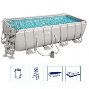 Bestway Ensemble de piscine Power Steel Rectangulaire 56670