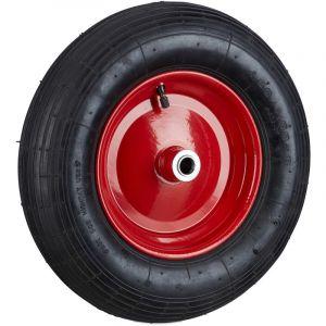 Relaxdays Roue de brouette caoutchouc 200 kg, roue de rechange sans axe, caoutchouc essieu 4.80 4.00-8, noir-rouge 4052025228538