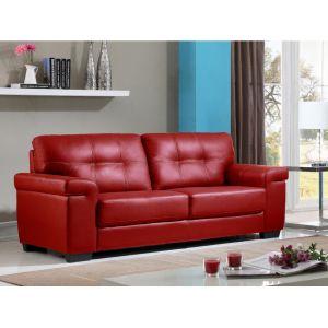 Canapé 3 places en cuir HAZEL Rouge