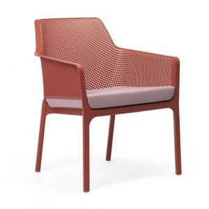 Nardi Coussin d'assise pour fauteuil de jardin NET RELAX 57x52 par - Rose Clair - Extérieur - Fermeture Zip