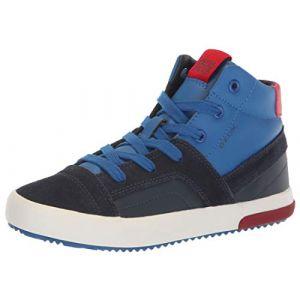 Geox J Alonisso A, Baskets Hautes garçon, Bleu (Navy/Red C0735), 31 EU
