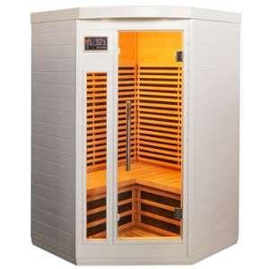Sno Sauna d'angle infrarouge blanc panneaux carbone 2150W 2-3 places