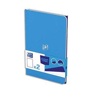 Oxford Carnet Pocket Notes agrafé - couverture carte - 9 x 14 cm - 48 pages - ligné 6 mm - bleu et bleu roy - lot de 2