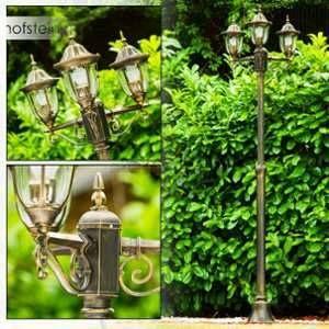 Image de Hofstein Lampadaire Ribadeo à 3 lampes en fonte d'aluminium - Réverbère extérieur au design classique - Luminaire extérieur qui mettra en valeur jardin, allée et cour