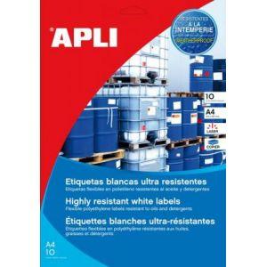 APLI 16923 - 10 étiquettes polyéthylène blanches, format 210 x 297 mm (10 feuilles / cdt)