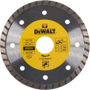Dewalt Disques diamantés Turbo pour tronçonnage à sec/Diamètre:125 mm / Alésage:22.2 mm / Hauteur des segments:7 mm / Largeur des segments:2.2 mm / Quantité par emballage:1 / Quantité minimale de commande:1 DT3712