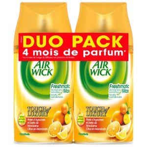 Air Wick Desodorisant Pack de 2 Recharge pour Diffuseur FreshMatic Plaisir d'Agrumes et Zeste de Mandarine Duo Pack