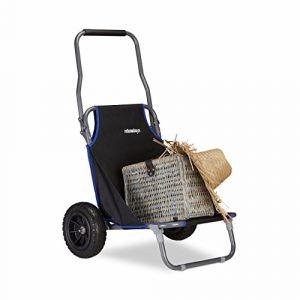 Relaxdays Chariot de Plage Pliant, Chaise de Plage à Roulettes Jusqu'à 100 kg Transport pour Plage, Noir