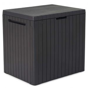 Keter Boîte de rangement d'extérieur City Anthracite Aspect de bois