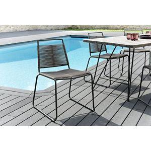 Macabane Lot de 2 chaises empilables cordage synthétique