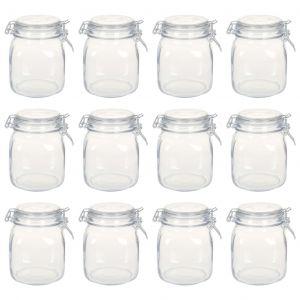 VidaXL Pots en verre avec serrure 12 pcs 1 L