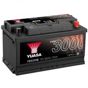 Yuasa SMF Batterie Auto 12V 80Ah 720A YBX3110 12V 80Ah 720A SMF Battery 317 x 175 x 175 mm + D