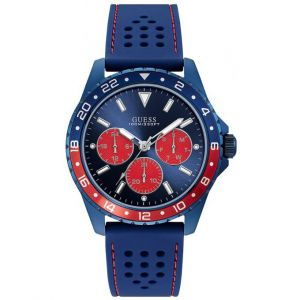 Guess : Montre W1108G1 - ODYSSEY Silicone Bleu Lunette Bicolore Homme