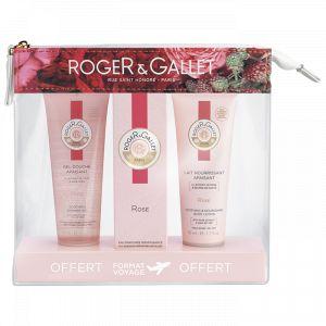 Roger & Gallet Trousse Rose - Gel douche, eau parfumée bienfaisante et lait nourrissant