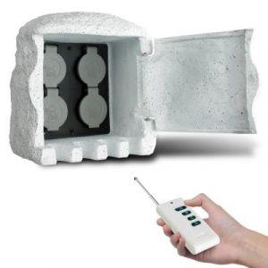 VidaXL Borne électrique de Jardin Imitation Pierre avec télécommande 4 Prises