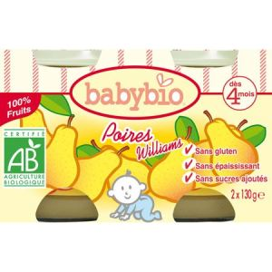 BabyBio Petit Pot Fruit : Poire-Williams 2 x 130g - dès 4 mois