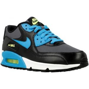 Nike AIR Max 90 Mesh (GS), Sneakers Basses Mixte Enfant - Noir - Schwarz (004 Black/Blue Lagoon-DRK Grey-WHT), 38.5