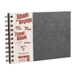 Clairefontaine 781165C - Album de Voyage Age Bag 210x148, 80p./40 feuilles 120 g/m² / 160 g/m² reliure intégrale, couv. coloris gris, ligné / uni