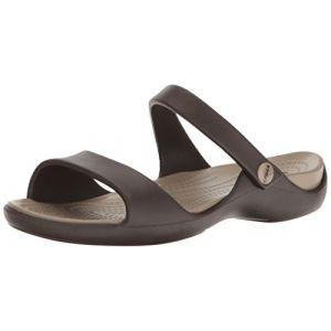 Crocs Cleo V Sandal Women, Femme Sandales, Marron (Espresso/Mushroom), 34-35 EU