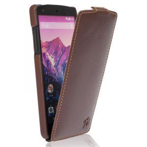 Issentiel Housse pour Google LG Nexus 5 Cuir Chocolat/Camel - Collection Ultra Mince