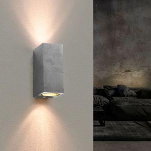 Silamp Applique Murale Argent LED Carrée IP44 double faisceau GU10