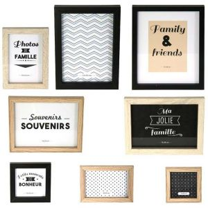 The home deco factory Lot de 8 Cadres Photos, Bois + Pvc, Noir/Blanc/Marron, 22,2 x 2 x 27,3 cm