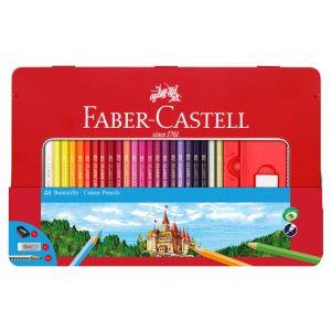 Faber-Castell Crayon de couleur Boite Métal Château 48 pièces