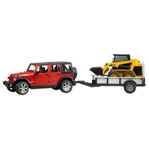 Bruder Toys 02925 - Jeep Wrangler Unlimited Rubicon avec remorque et chargeur Caterpillar