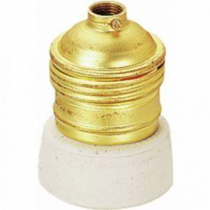 Ebénoid Douille à collerette porcelaine - Acier laitonné - Culot E27