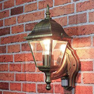 """Lichp Palazzo Int Lanterne de jardin""""Tirol dans Antique avec détecteur de mouvement/E27Max. 60W 230V/lampe de jardin avec capteur pour extérieur"""