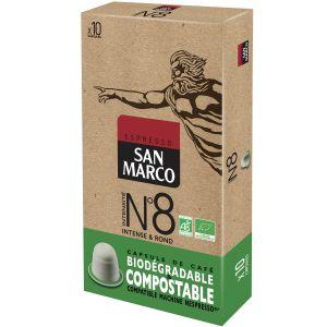 San Marco Café Espresso n°8 Compatible nespresso Bio & compostable - 10 Capsules