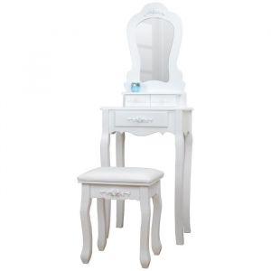 Coiffeuse classique en bois paulownia blanc + tabouret revetu de tissu blanc - L 50 cm - Bois paulownia blanc - L 50 x P 30 x H 140 cm - 1 miroir, 3 tiroirs - 1 tabouret avec assise en tissu