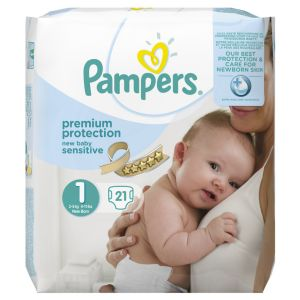 Pampers Premium Protection New Baby Sensitive taille 1 Newborn 2-5 kg - 21 couches