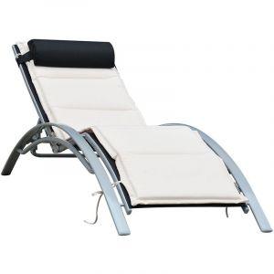 Outsunny Bain de soleil transat design contemporain inclinable multi-positions avec matelas et tétière dim. 170L x 64l x 82H cm alu textilène beige